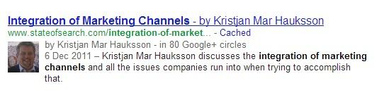 Този потребител също не е добавил сътрудничество в Google+ профила си, но се появява със снимка в резултатите