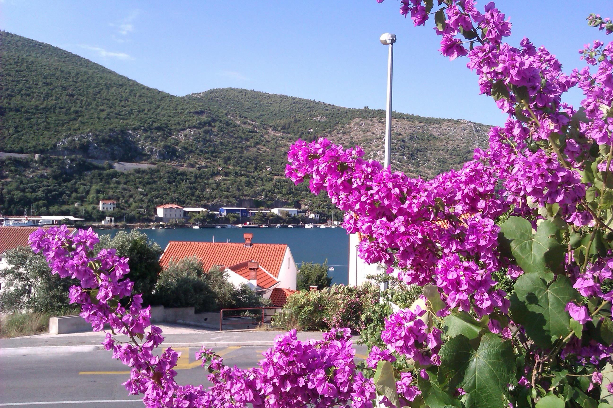 Изглед от хотела към ръкава на Средиземно море и планината